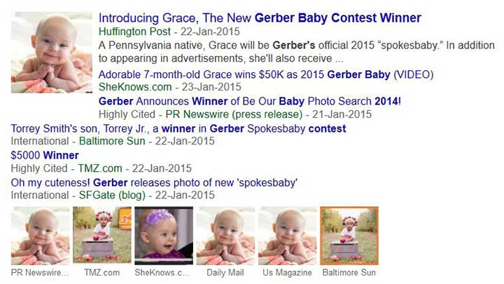 Gerber baby Grace making headlines.