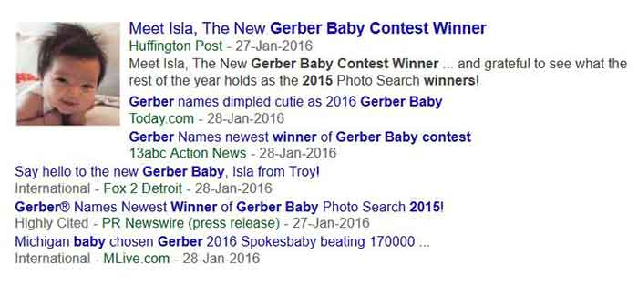 Headline of Isla winning the 2015 Gerber baby contest