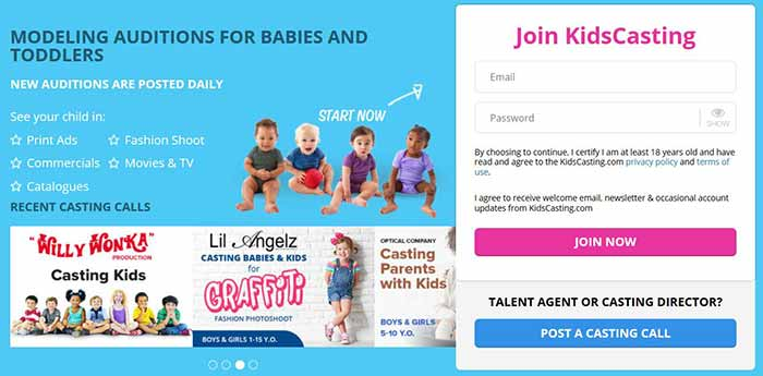 Join the Kids Casting signup