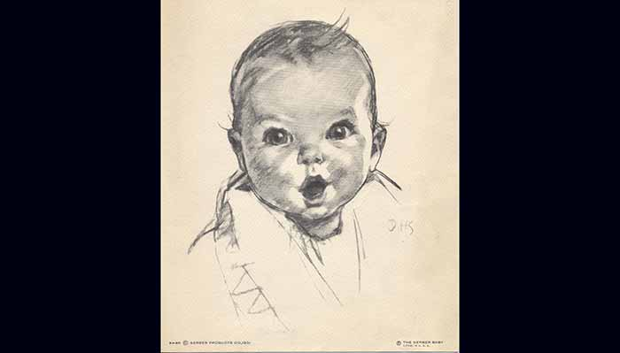 The original Gerber baby drawing that won the 1928 Gerber contest.